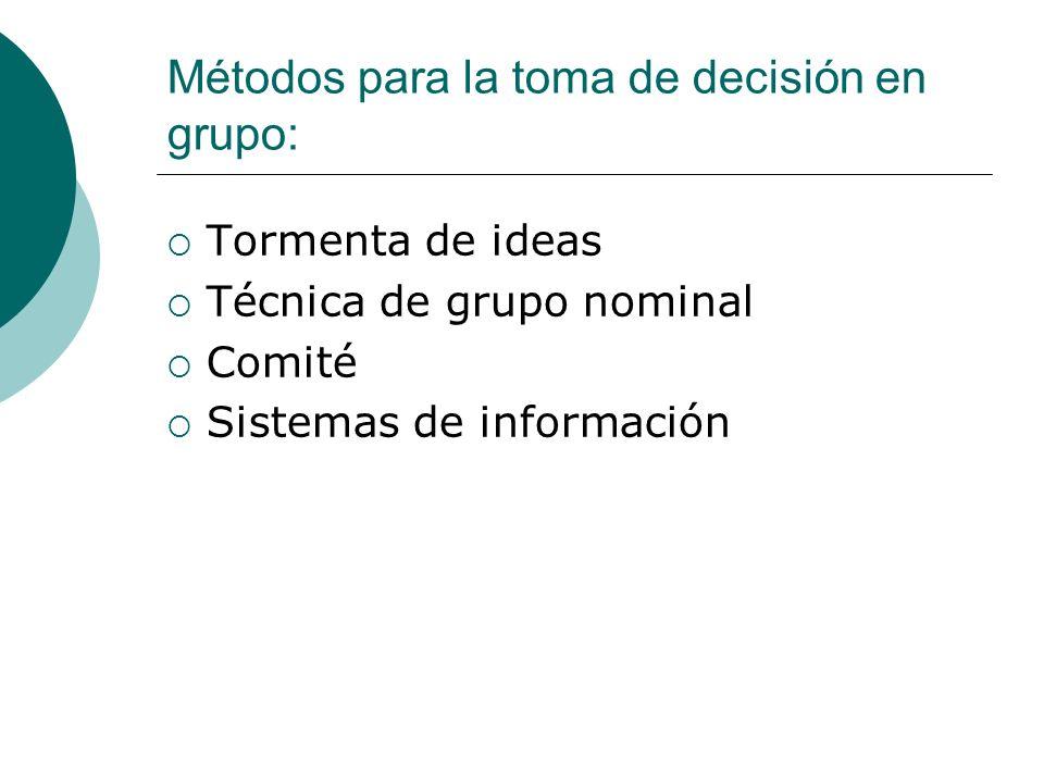 Métodos para la toma de decisión en grupo: