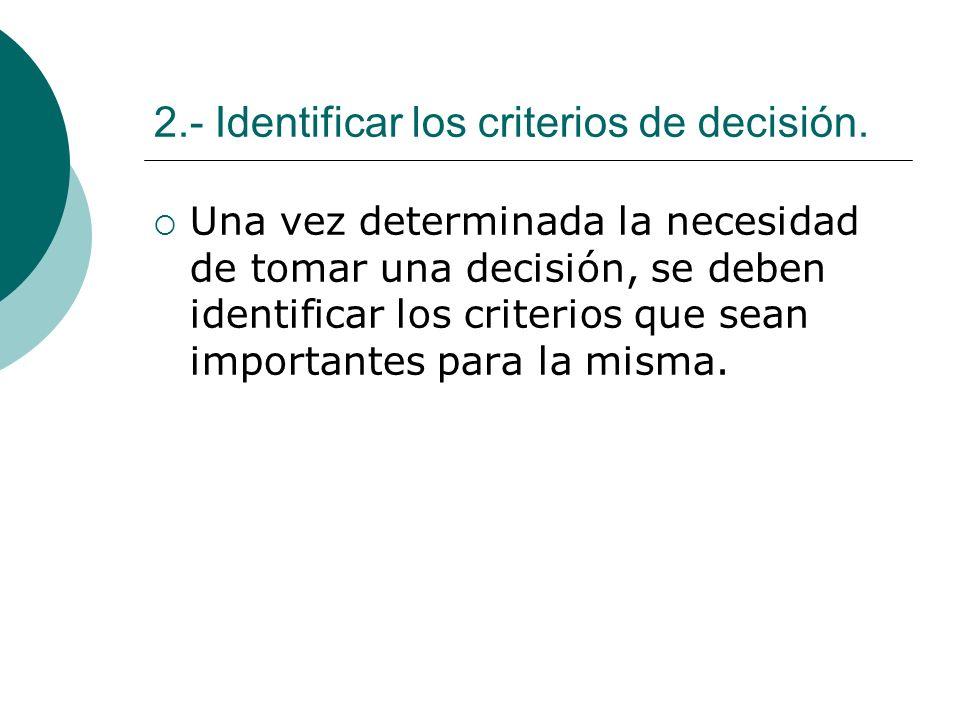 2.- Identificar los criterios de decisión.