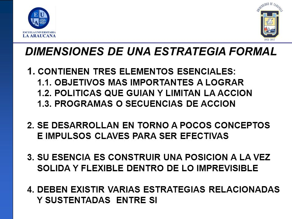 DIMENSIONES DE UNA ESTRATEGIA FORMAL