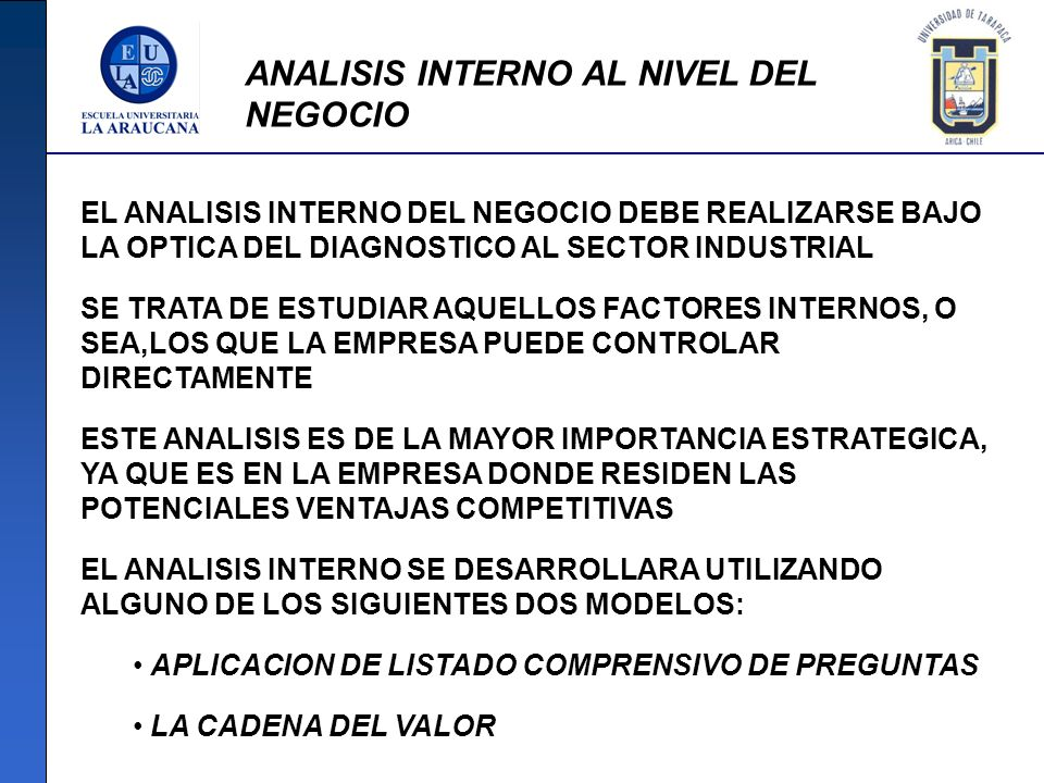 ANALISIS INTERNO AL NIVEL DEL NEGOCIO