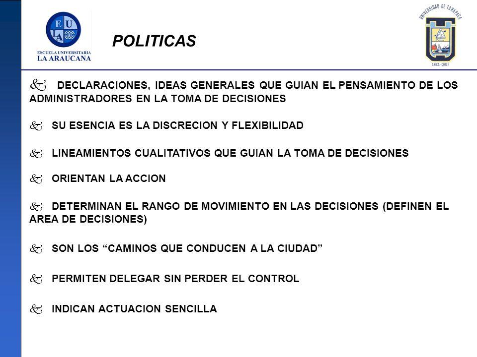 POLITICAS DECLARACIONES, IDEAS GENERALES QUE GUIAN EL PENSAMIENTO DE LOS ADMINISTRADORES EN LA TOMA DE DECISIONES.