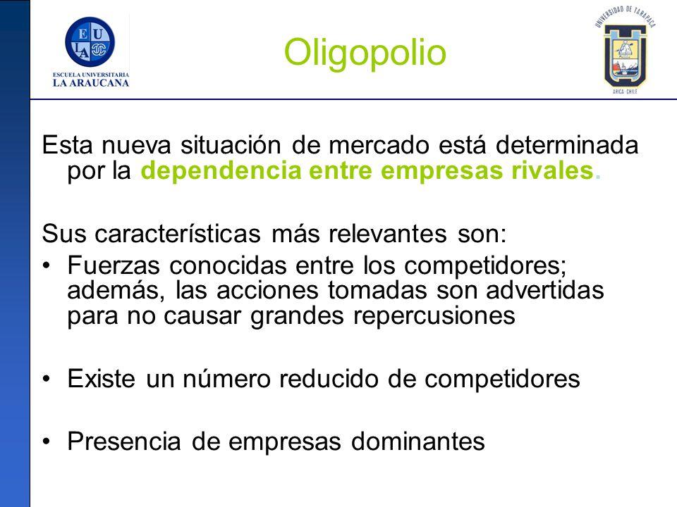 Oligopolio Esta nueva situación de mercado está determinada por la dependencia entre empresas rivales.