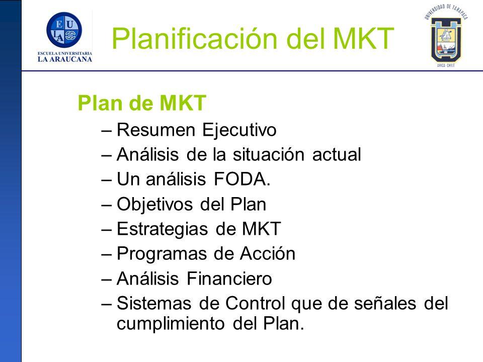 Planificación del MKT Plan de MKT Resumen Ejecutivo
