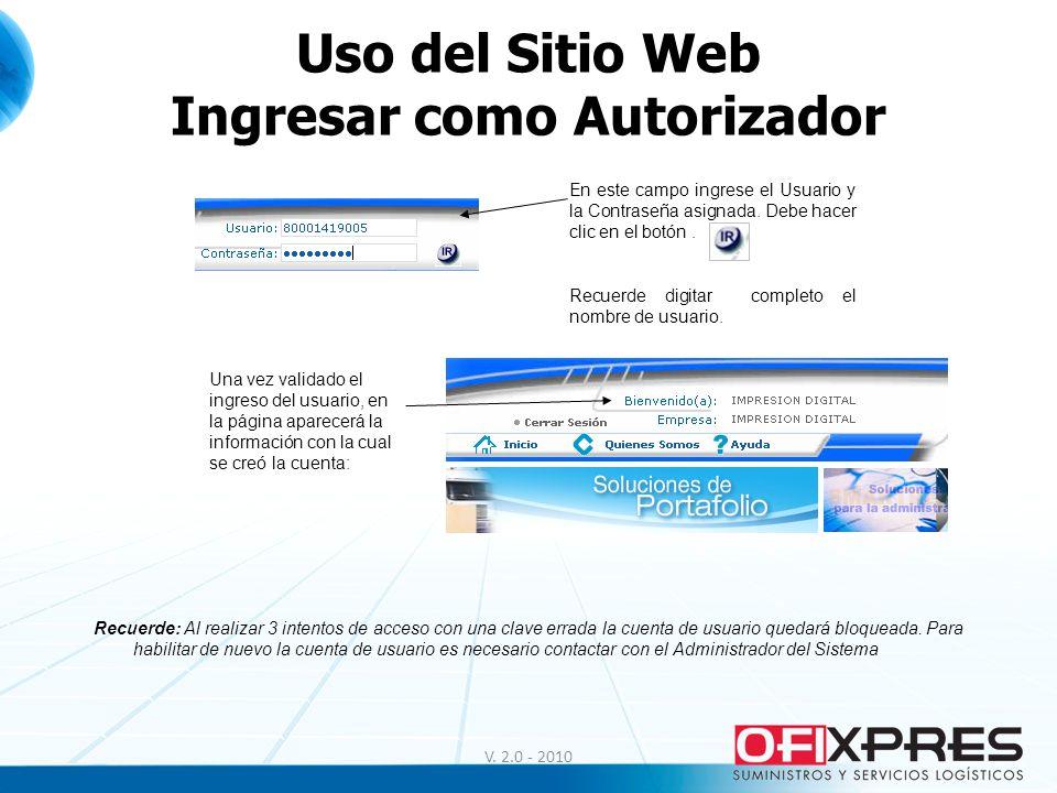 Uso del Sitio Web Ingresar como Autorizador