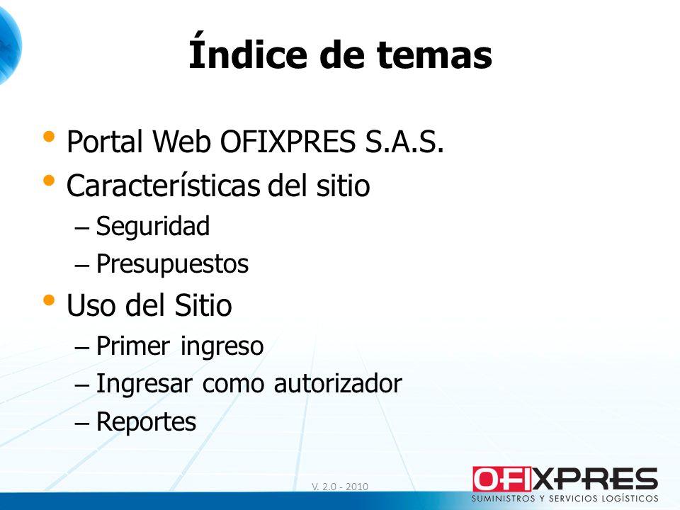 Índice de temas Portal Web OFIXPRES S.A.S. Características del sitio