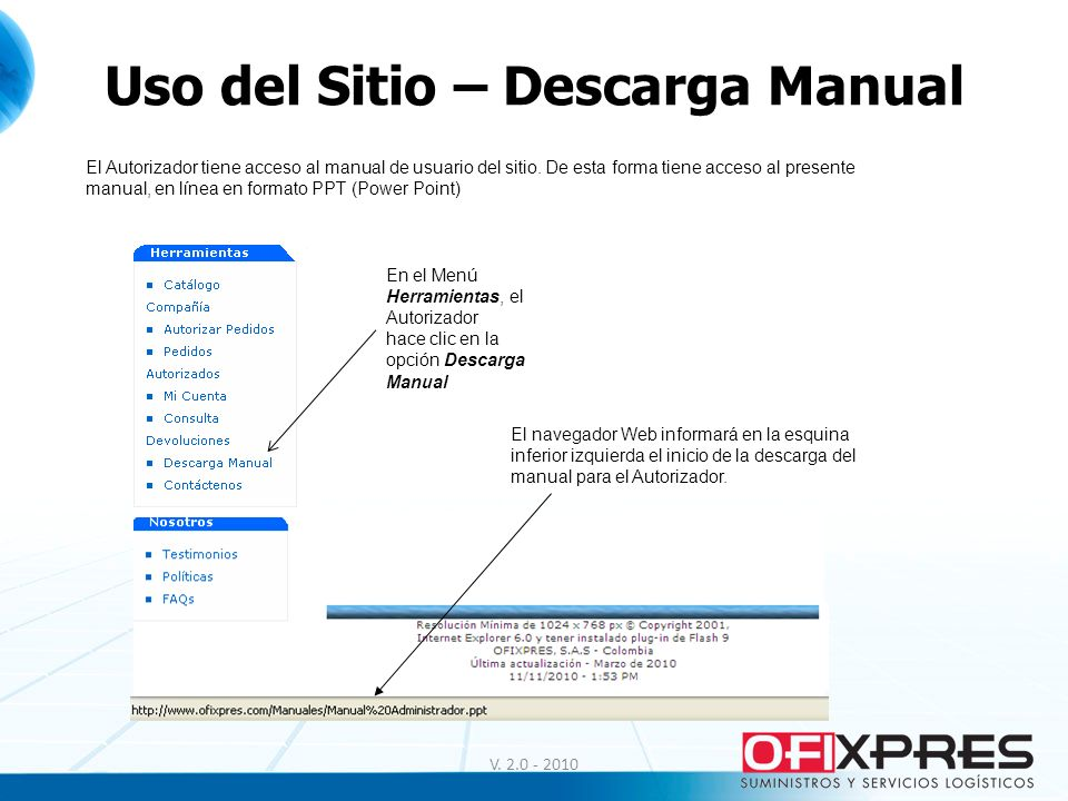 Uso del Sitio – Descarga Manual