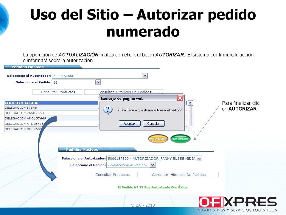 Uso del Sitio – Autorizar pedido numerado