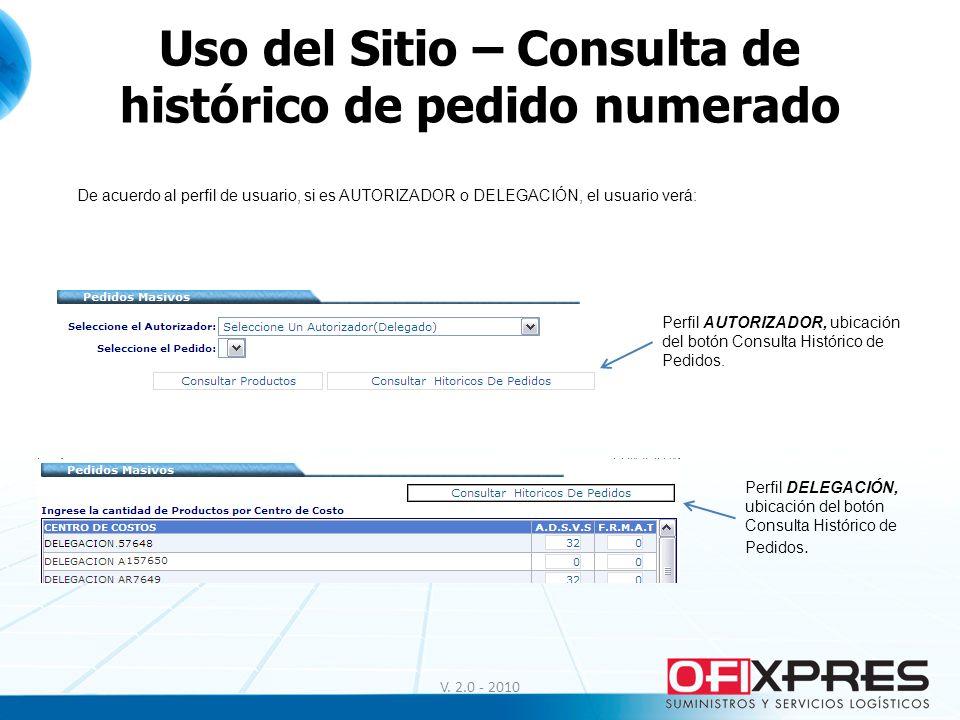 Uso del Sitio – Consulta de histórico de pedido numerado