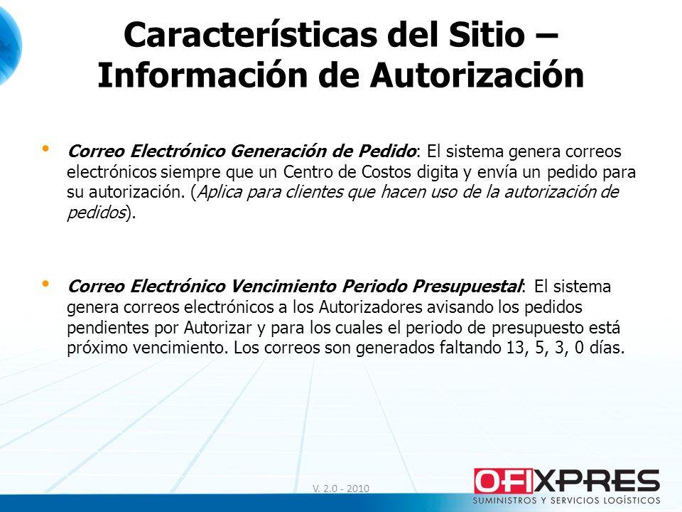 Características del Sitio – Información de Autorización