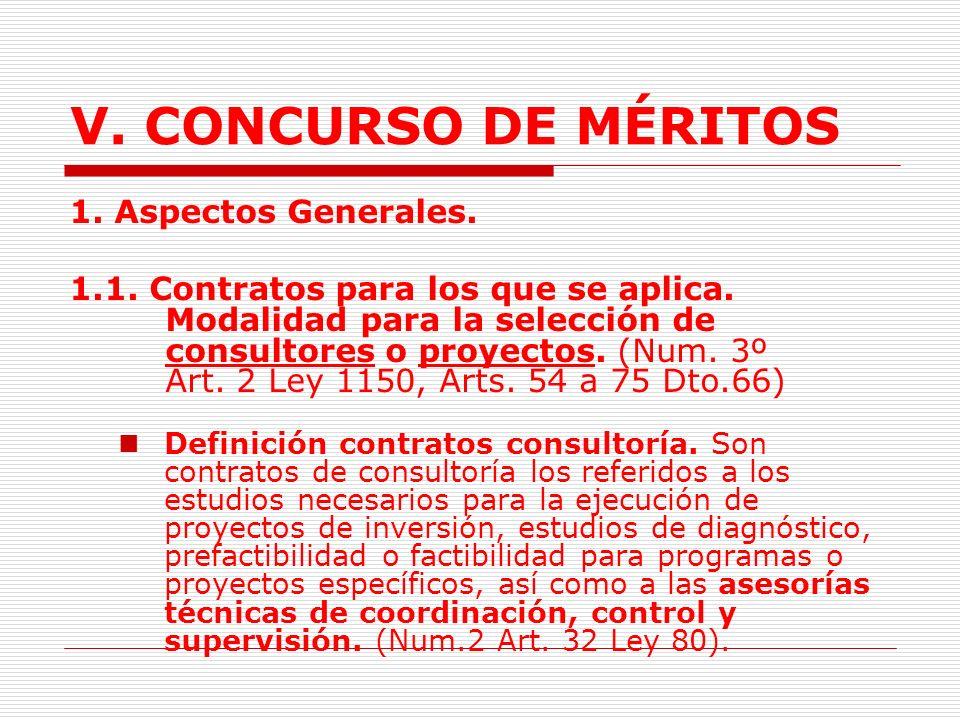 V. CONCURSO DE MÉRITOS 1. Aspectos Generales.