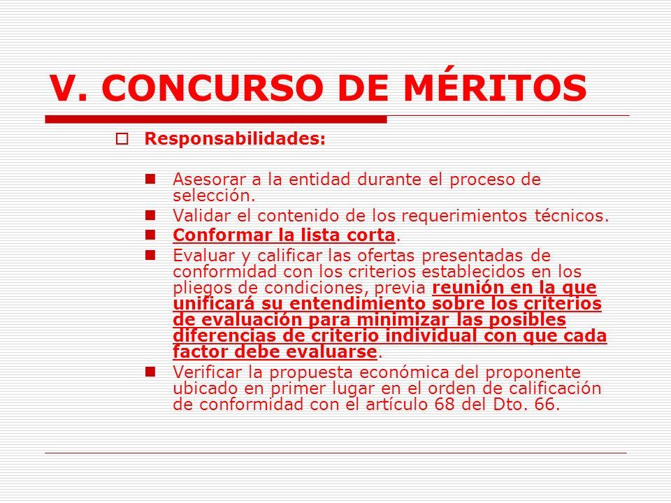 V. CONCURSO DE MÉRITOS Responsabilidades: