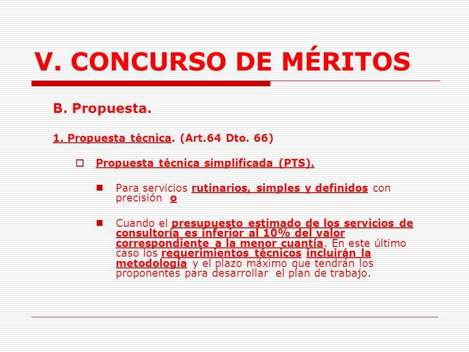 V. CONCURSO DE MÉRITOS B. Propuesta.