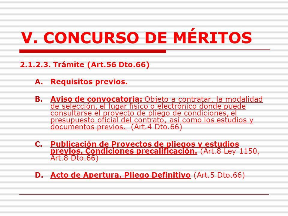 V. CONCURSO DE MÉRITOS 2.1.2.3. Trámite (Art.56 Dto.66)