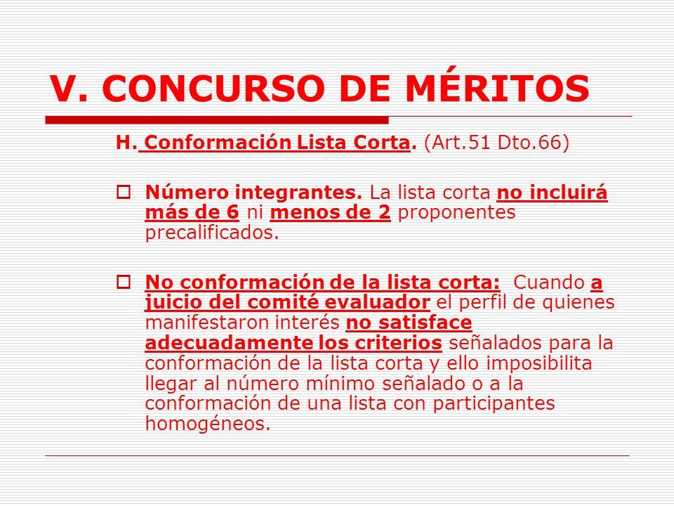 V. CONCURSO DE MÉRITOS H. Conformación Lista Corta. (Art.51 Dto.66)