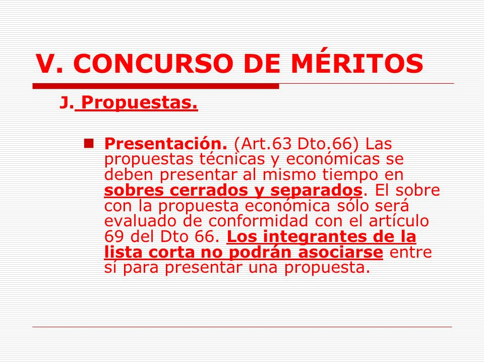 V. CONCURSO DE MÉRITOS J. Propuestas.