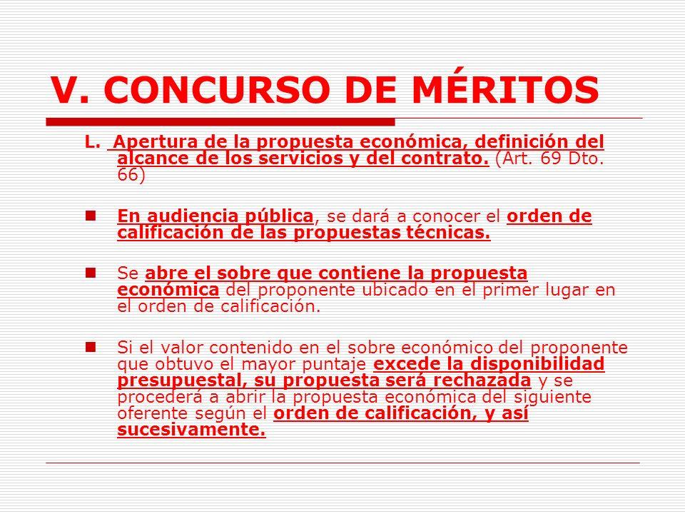 V. CONCURSO DE MÉRITOS L. Apertura de la propuesta económica, definición del alcance de los servicios y del contrato. (Art. 69 Dto. 66)