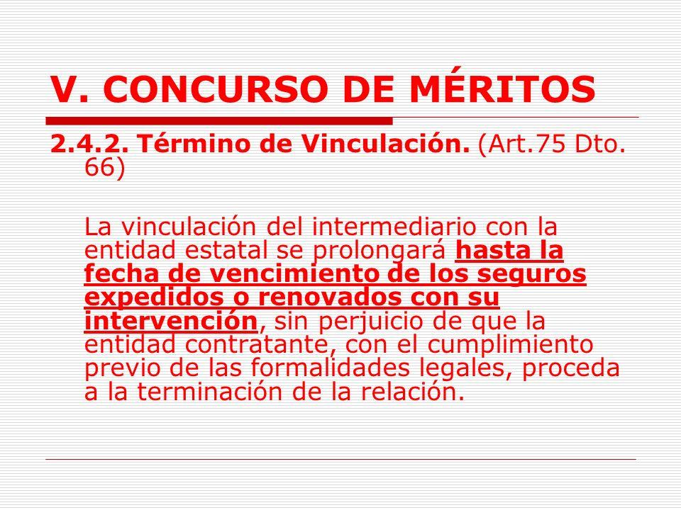 V. CONCURSO DE MÉRITOS 2.4.2. Término de Vinculación. (Art.75 Dto. 66)
