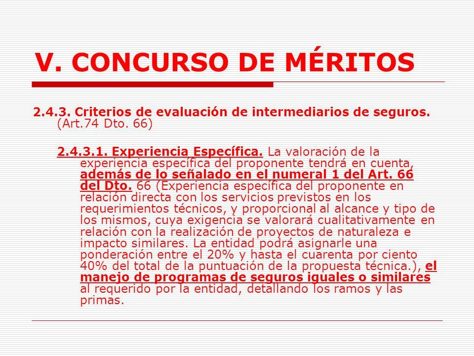 V. CONCURSO DE MÉRITOS 2.4.3. Criterios de evaluación de intermediarios de seguros. (Art.74 Dto. 66)