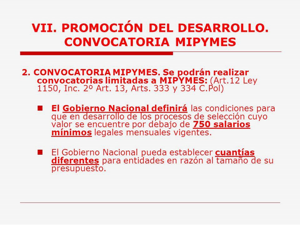 VII. PROMOCIÓN DEL DESARROLLO. CONVOCATORIA MIPYMES