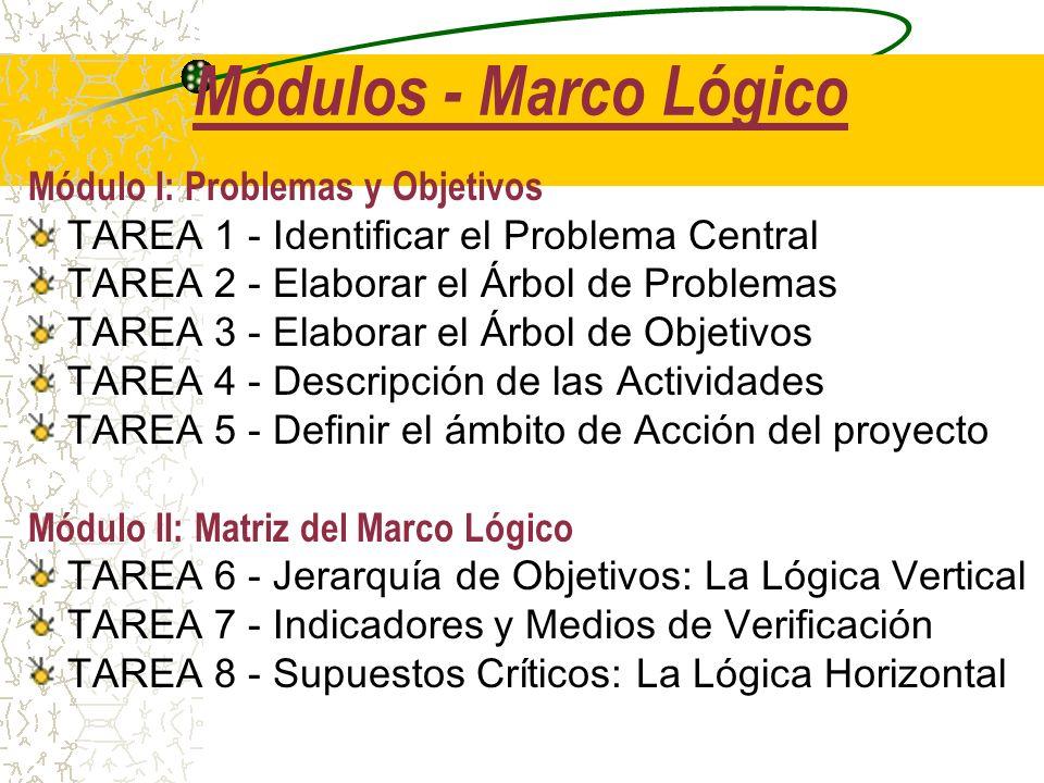 Módulos - Marco Lógico Módulo I: Problemas y Objetivos