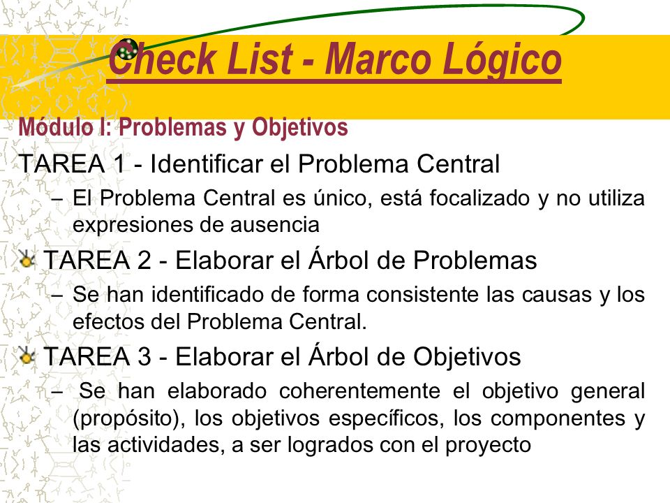 Check List - Marco Lógico