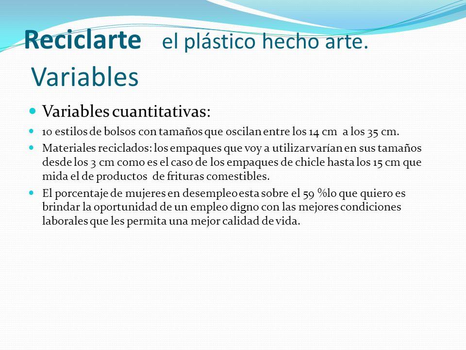 Reciclarte el plástico hecho arte. Variables