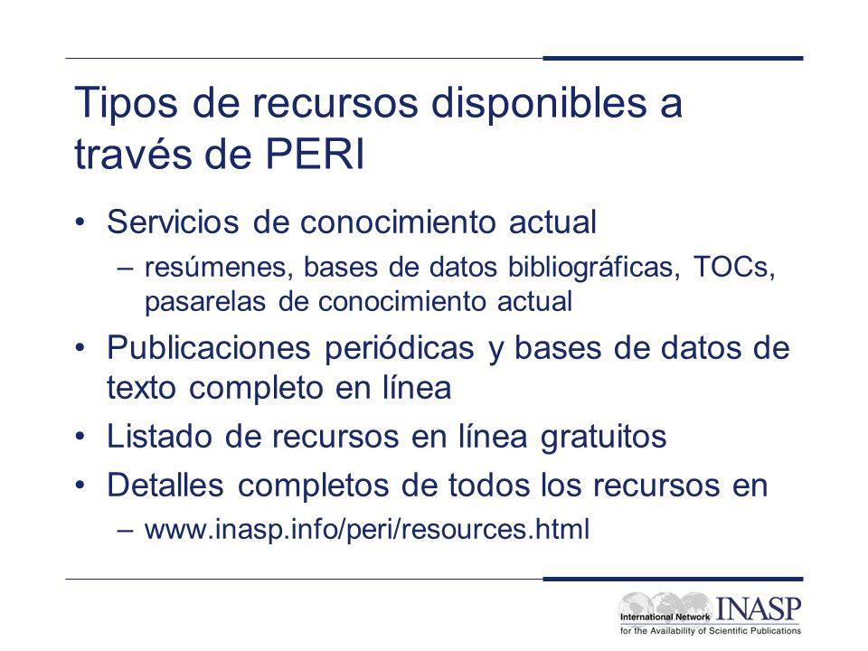 Tipos de recursos disponibles a través de PERI
