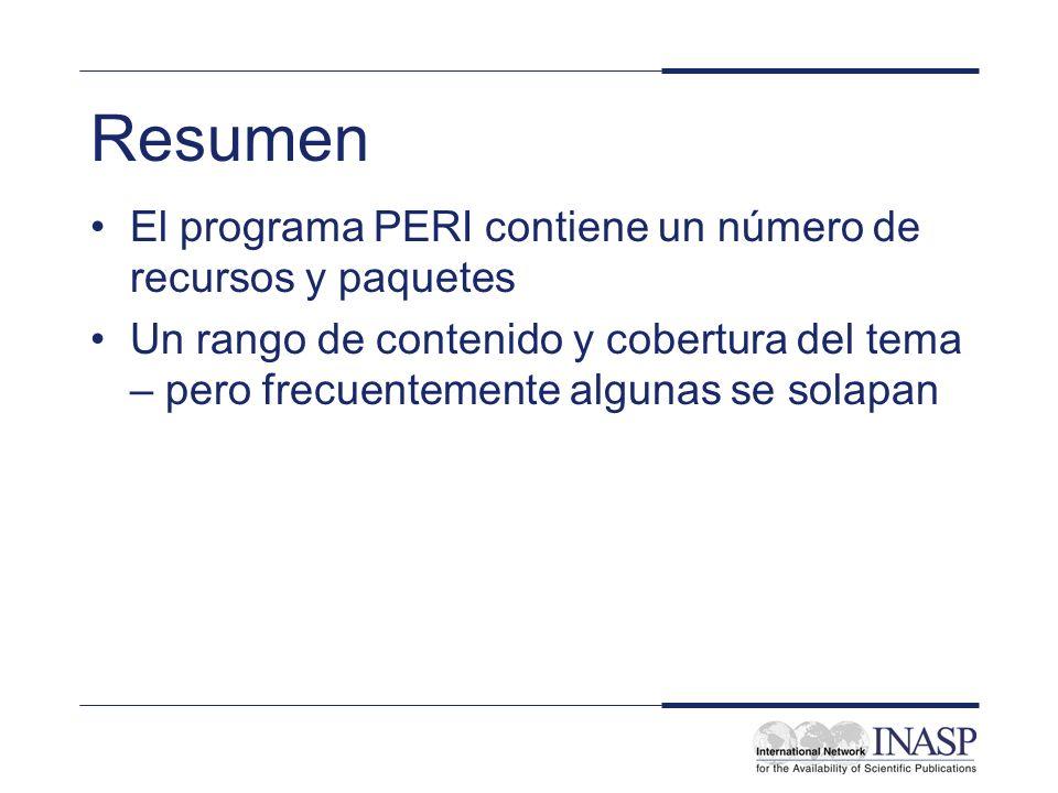 Resumen El programa PERI contiene un número de recursos y paquetes