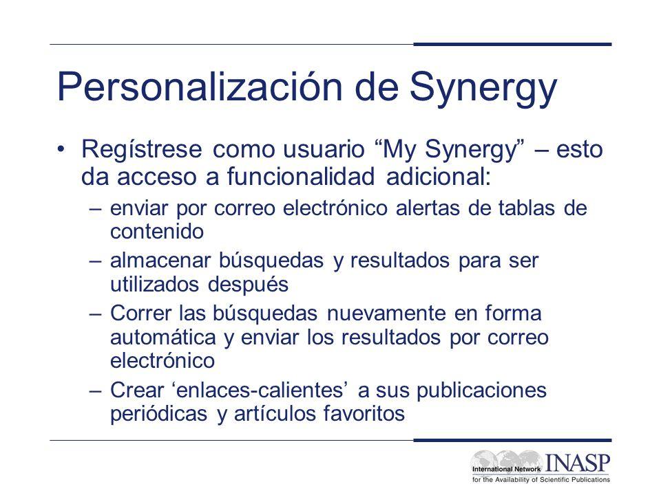 Personalización de Synergy