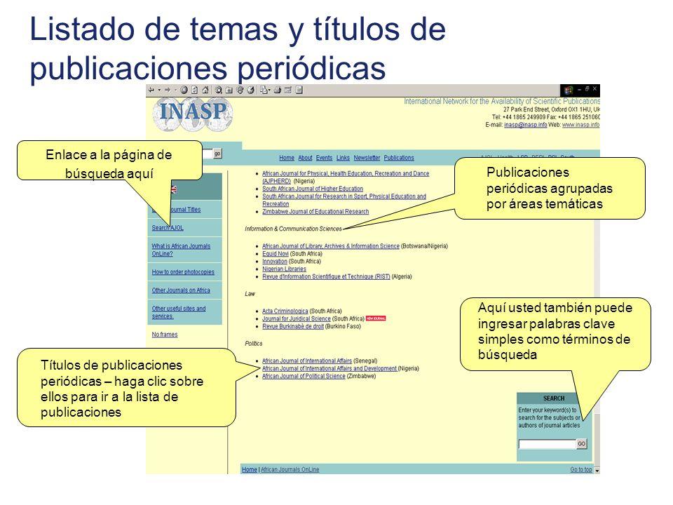 Listado de temas y títulos de publicaciones periódicas