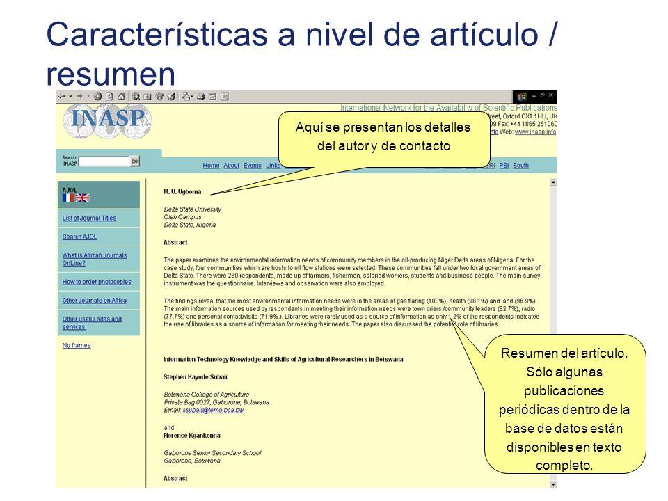 Características a nivel de artículo / resumen
