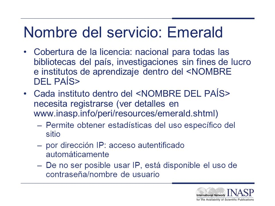 Nombre del servicio: Emerald