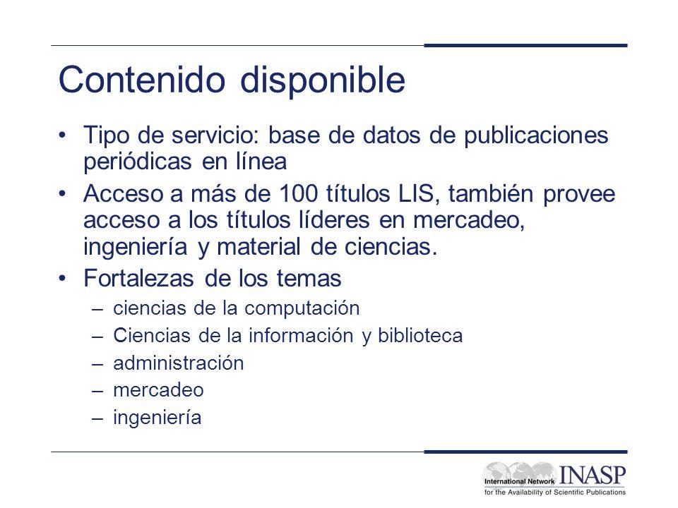 Contenido disponible Tipo de servicio: base de datos de publicaciones periódicas en línea.