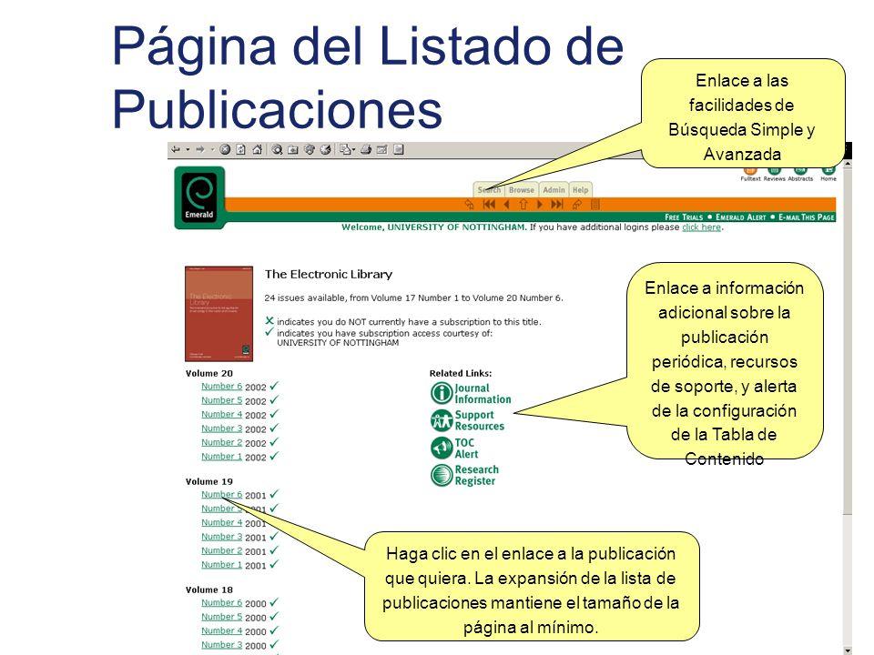 Página del Listado de Publicaciones