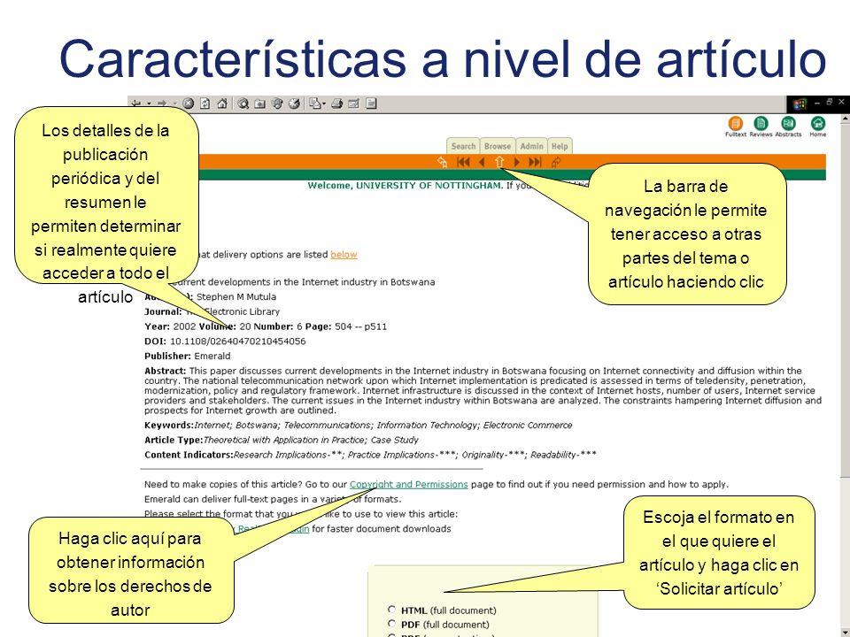 Características a nivel de artículo