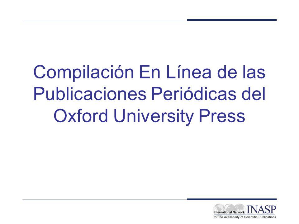 Compilación En Línea de las Publicaciones Periódicas del Oxford University Press