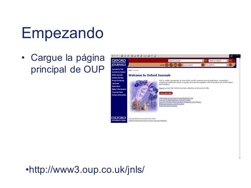 Empezando Cargue la página principal de OUP
