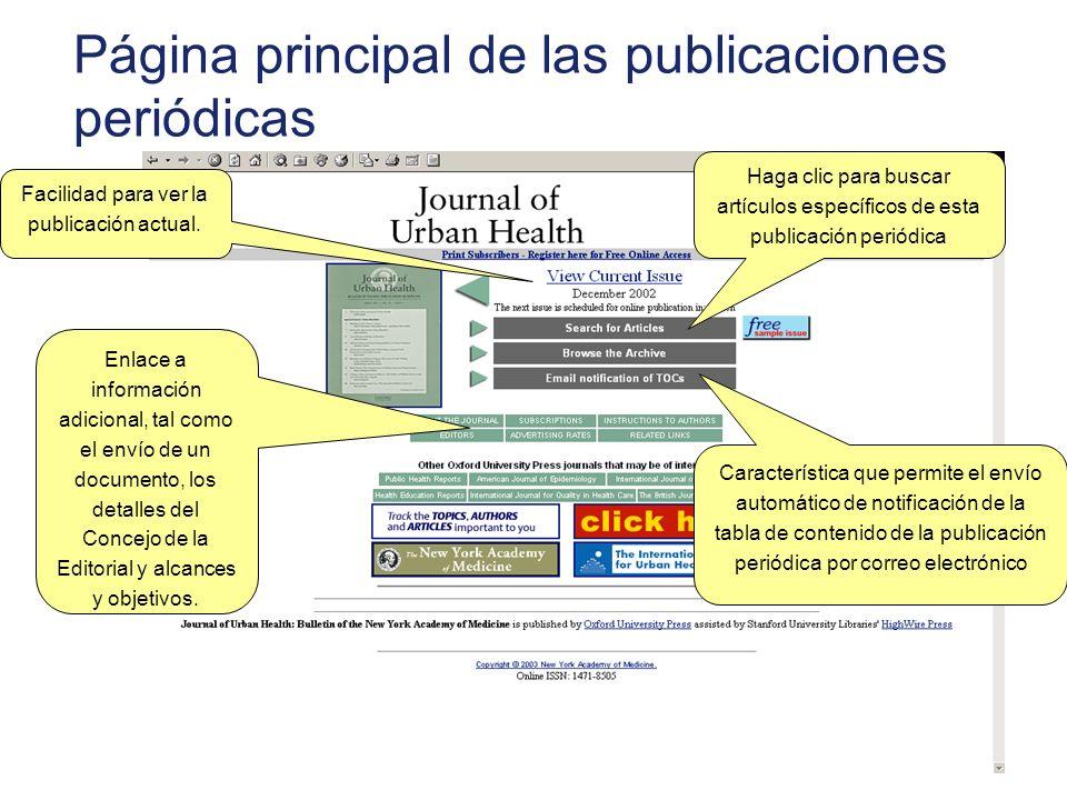 Página principal de las publicaciones periódicas