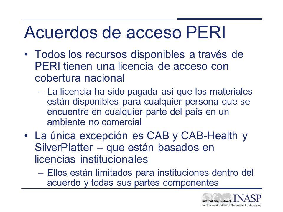 Acuerdos de acceso PERI