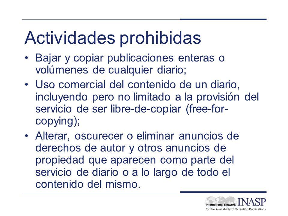 Actividades prohibidas