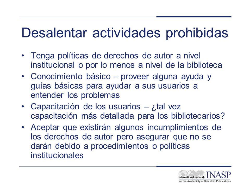 Desalentar actividades prohibidas