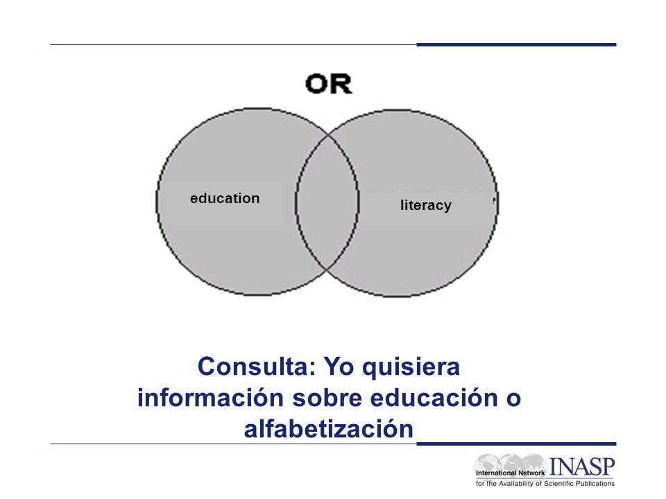Consulta: Yo quisiera información sobre educación o alfabetización
