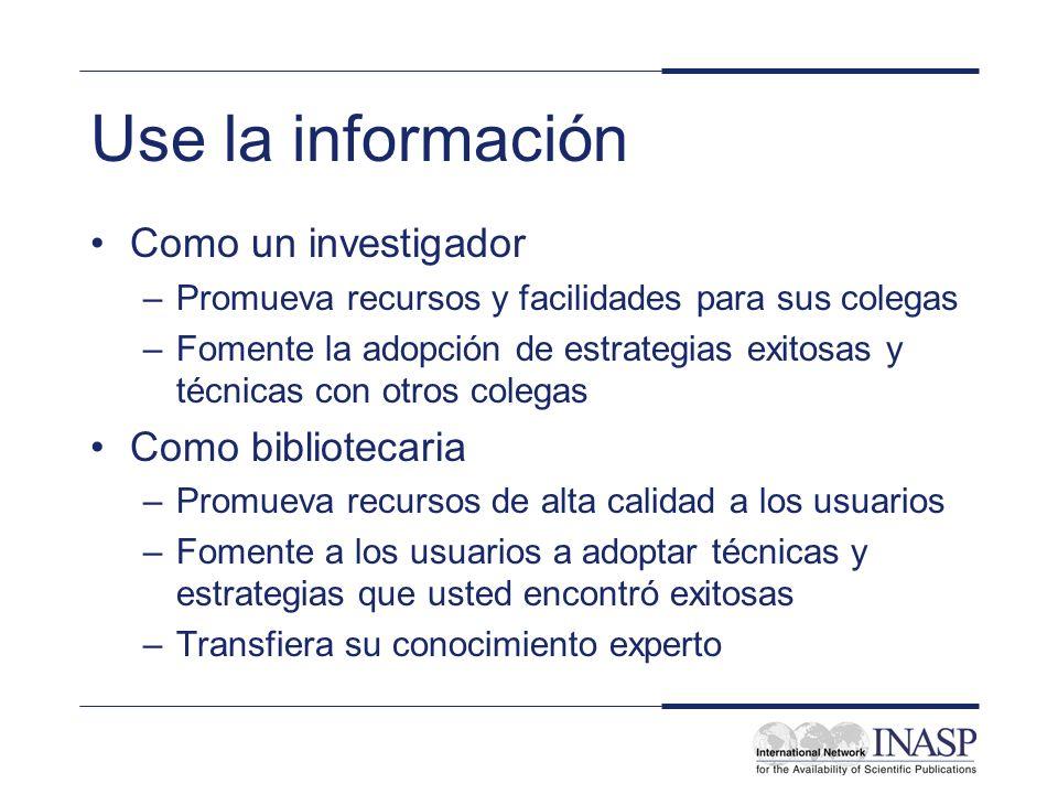 Use la información Como un investigador Como bibliotecaria