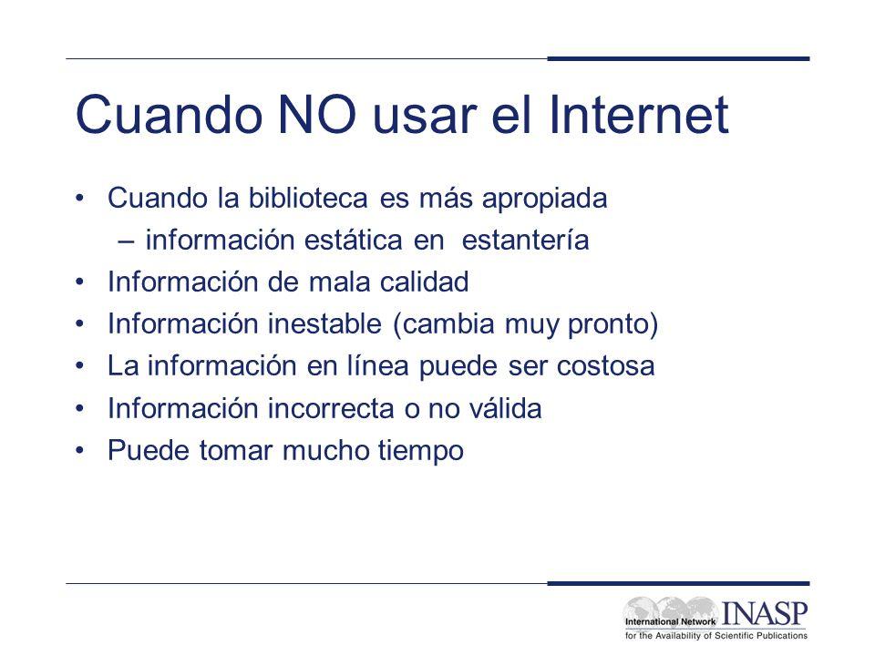 Cuando NO usar el Internet