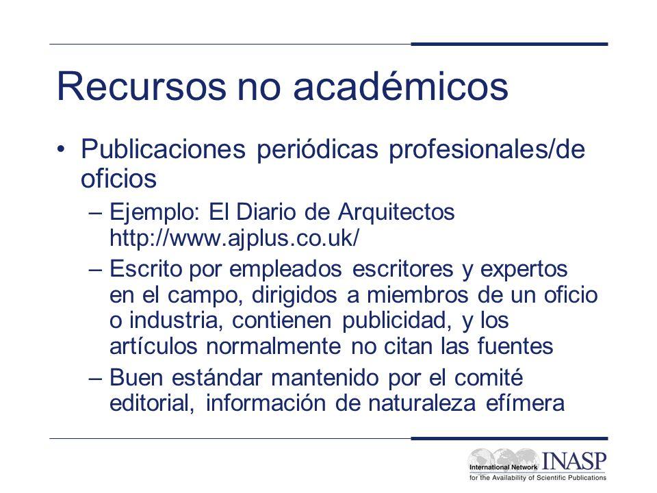 Recursos no académicos