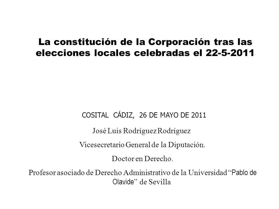 La constitución de la Corporación tras las elecciones locales celebradas el 22-5-2011