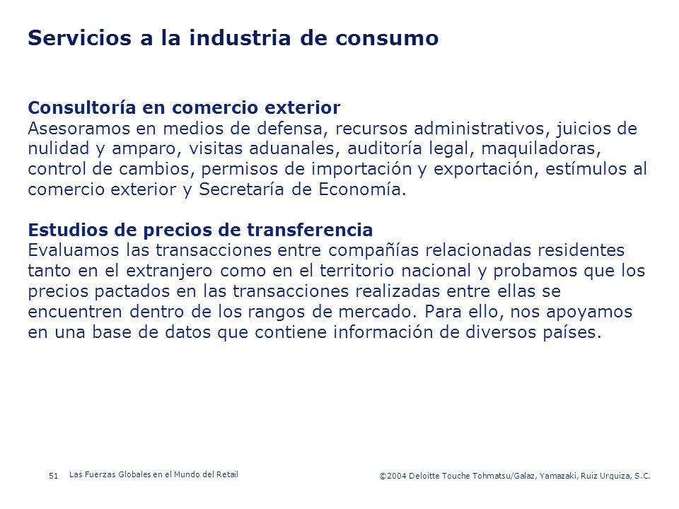 Servicios a la industria de consumo