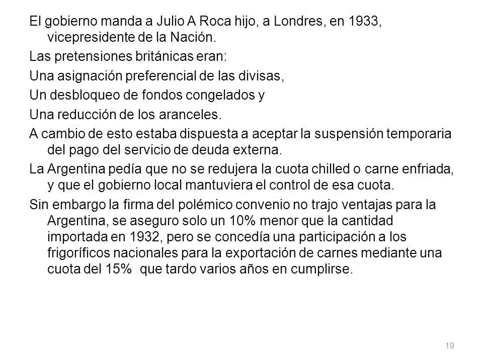 El gobierno manda a Julio A Roca hijo, a Londres, en 1933, vicepresidente de la Nación.