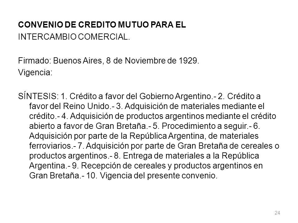 CONVENIO DE CREDITO MUTUO PARA EL INTERCAMBIO COMERCIAL