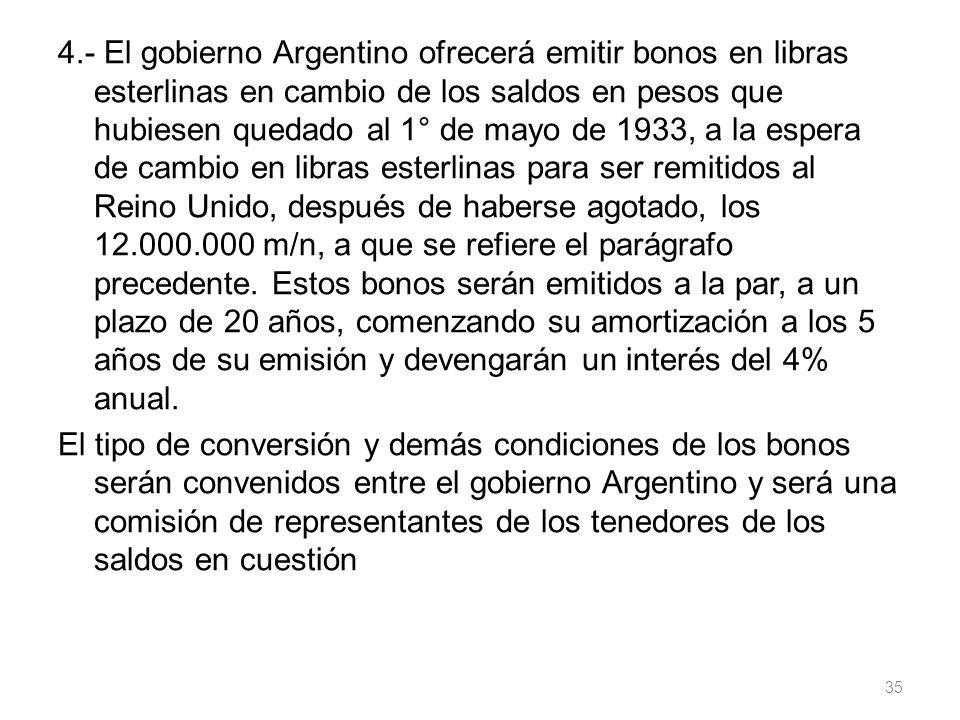 4.- El gobierno Argentino ofrecerá emitir bonos en libras esterlinas en cambio de los saldos en pesos que hubiesen quedado al 1° de mayo de 1933, a la espera de cambio en libras esterlinas para ser remitidos al Reino Unido, después de haberse agotado, los 12.000.000 m/n, a que se refiere el parágrafo precedente.